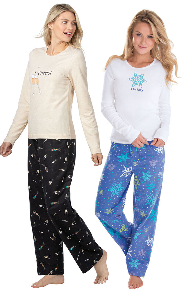 Addison Meadow PajamaGram Flakey and Champagne Flannel PJs image number 0