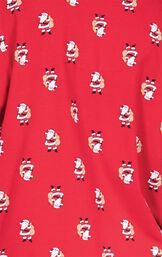 Close Up of Allover Santa Print on Red St. Nick Boyfriend Pajamas image number 5