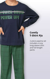 Green Windowpane Check PJ with Graphic Tee for Youth image number 2