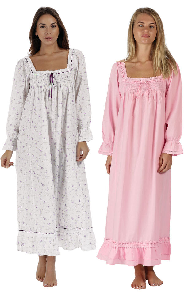 Models wearing Martha Nightgown - Lilac Rose and Martha Nightgown - Pink image number 0