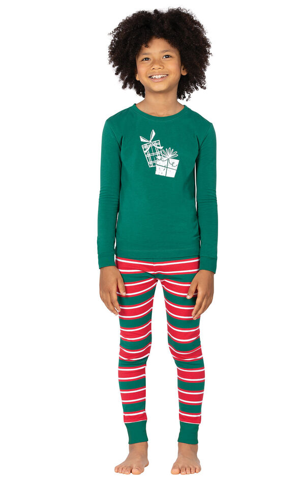 Model wearing Red and Green Christmas Stripe PJ for Kids image number 0