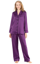 Model wearing Purple Satin Button-Front PJ with Contrast Piping for Women image number 1