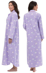 Model wearing Purple Purrfect Flannel Nighty, facing away from the camera and then facing to the side image number 1