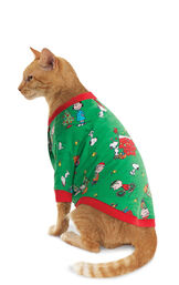 Model wearing Green Charlie Brown Christmas PJ for Cats