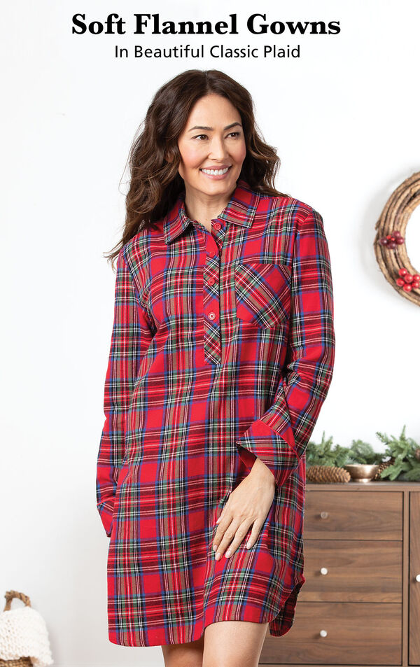Model wearing Stewart Plaid Flannel Sleepshirt by dresser with the following copy: Soft Flannel Gowns in Beautiful Classic Plaid image number 2