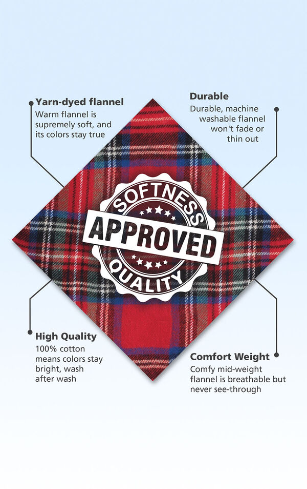 Red Stewart Plaid Fabric with the following copy: Warm brushed flannel is supremely soft. Machine washable flannel won't fade or thin. High-quality fabric means colors stay bright. Mid-weight fabric is breathable but never see through. image number 4