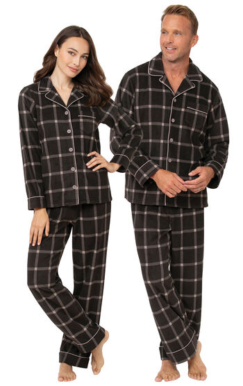 Charcoal Check His & Her Flannel Pajamas