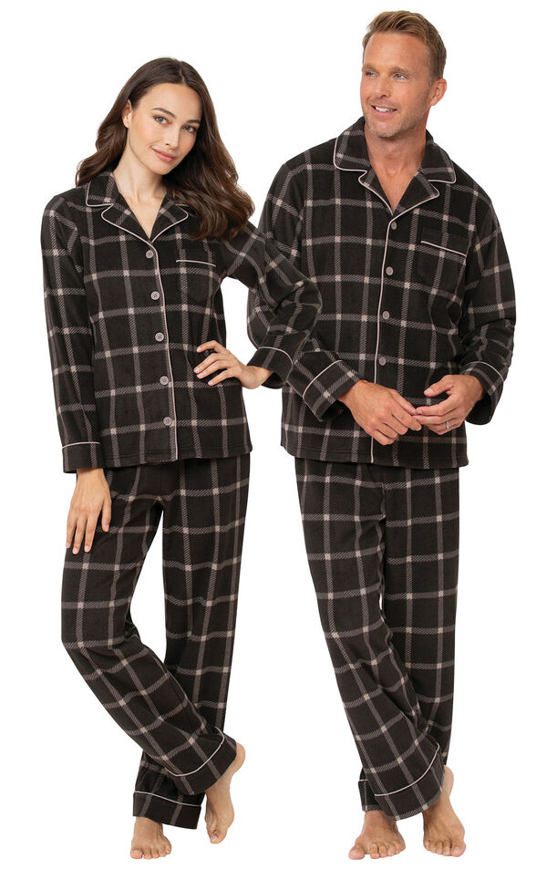 Gray Check Fleece Button-Front PJ His & Hers image number 0