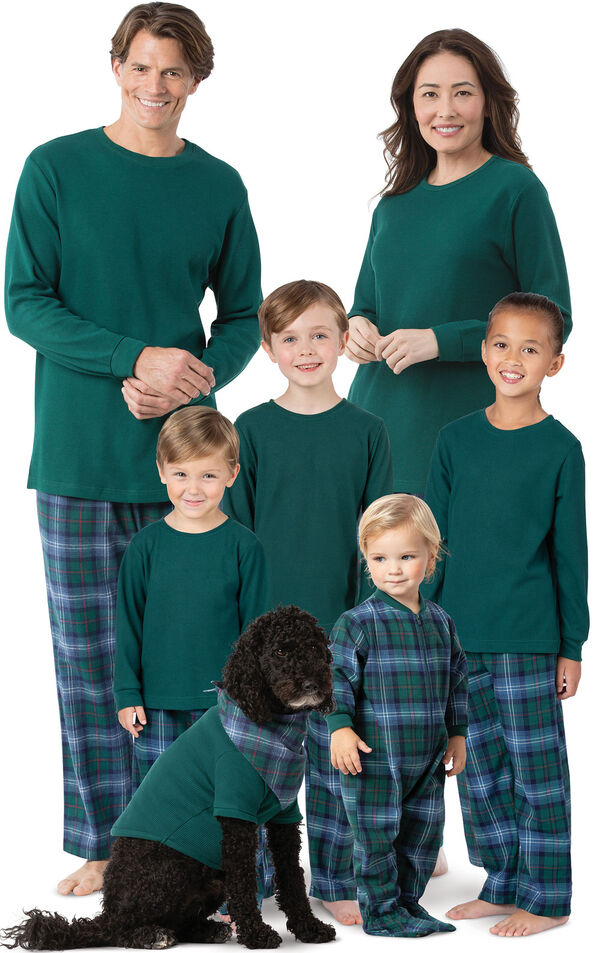 Models wearing Classic Green and Blue Heritage Plaid Matching Family Pajamas image number 0
