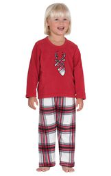 Model wearing Red and White Plaid Fleece PJ for Toddlers