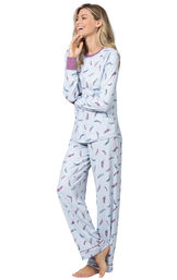 Model wearing Blue and Pink Feather PJ for Women image number 0