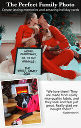 Photo of Couple and Pets wearing Red Dropseat PJs with the following copy: The Perfect Family Photo - Create lasting memories and amazing holiday cards. Customer Quote: We love them! They are made from really nice quality fabric and they look and feel just great image number 1