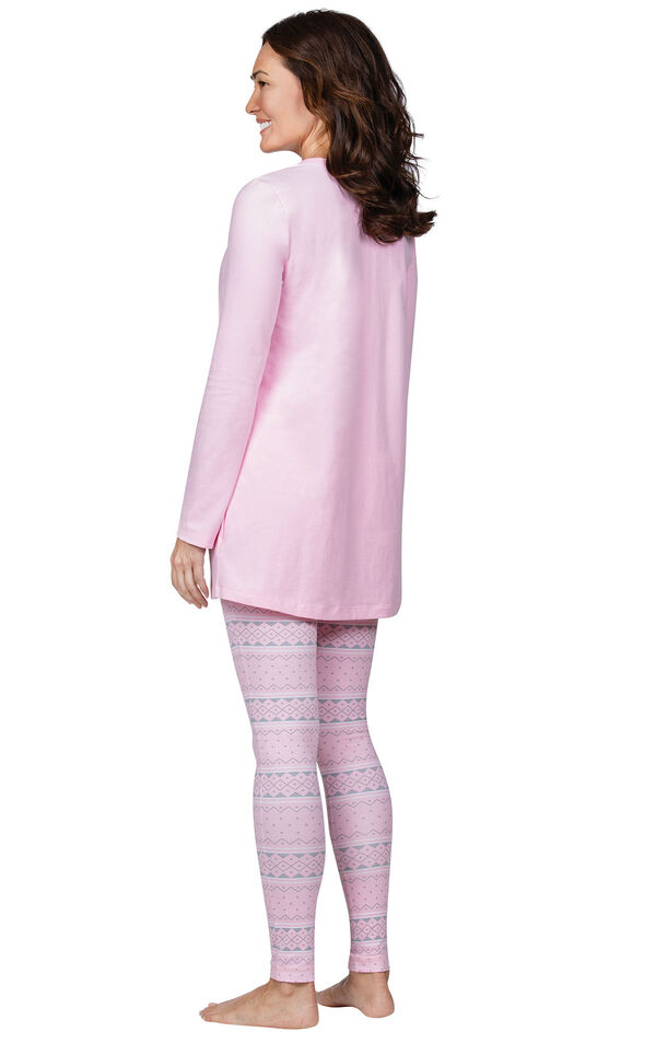 Model wearing Long Sleeve and Legging Pajamas - Pink Fair Isle, facing away from the camera image number 1