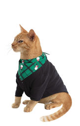 Model wearing Black and Green Snowman Argyle PJ for Cats