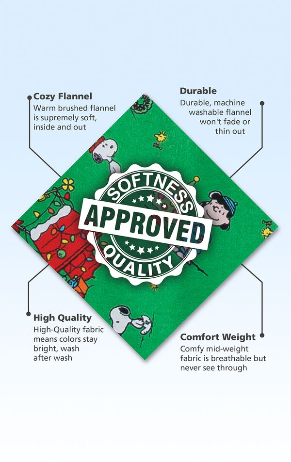 Green Charlie Brown Christmas Flannel fabric swatch with the following copy: Warm brushed flannel is supremely soft, inside and out. Durable, machine washable flannel won't fade or thin out. High-Quality fabric means colors stay bright. Comfy mid-weight fabric. image number 4