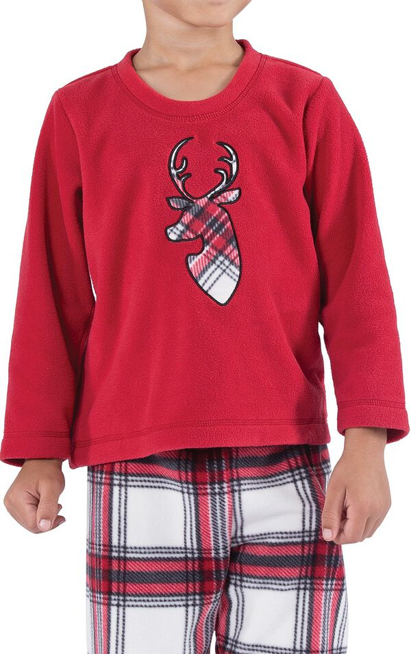 Close-up of Red Fleece Top with Deer Applique on Fireside Fleece Boys' Pajamas image number 3