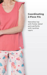 Close-up of Margaritaville Easy Island Capris Coordinating 2-Piece PJs - Sleeveless top with flutter detail pairs perfectly with carefree capris image number 3