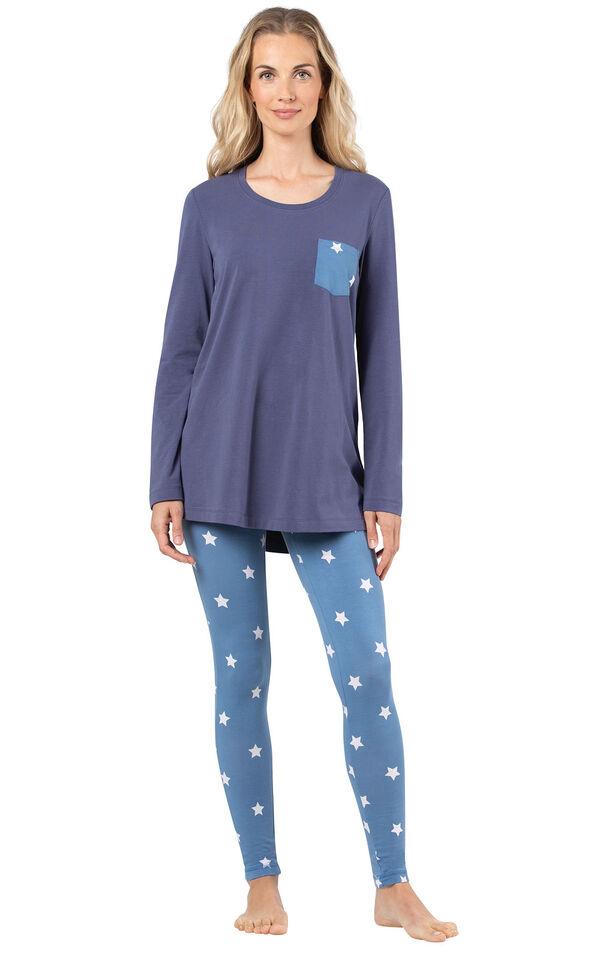 Model wearing Long Sleeve and Legging Pajamas - Navy Stars image number 0
