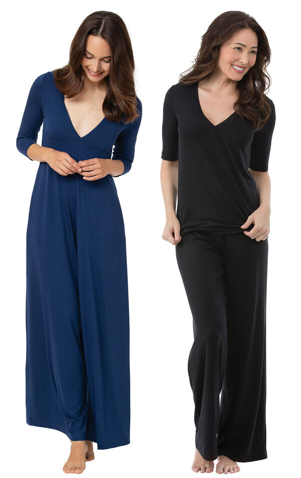 Navy Pajama Jumpsuit and Black Naturally Nude PJs image number 0