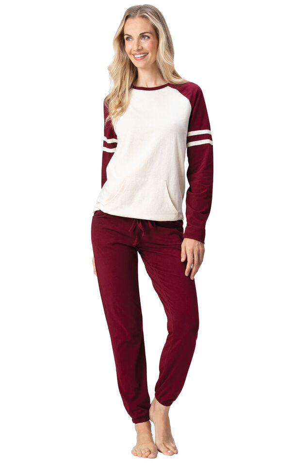 Model wearing Sunday Funday Pajamas - Burgundy image number 2