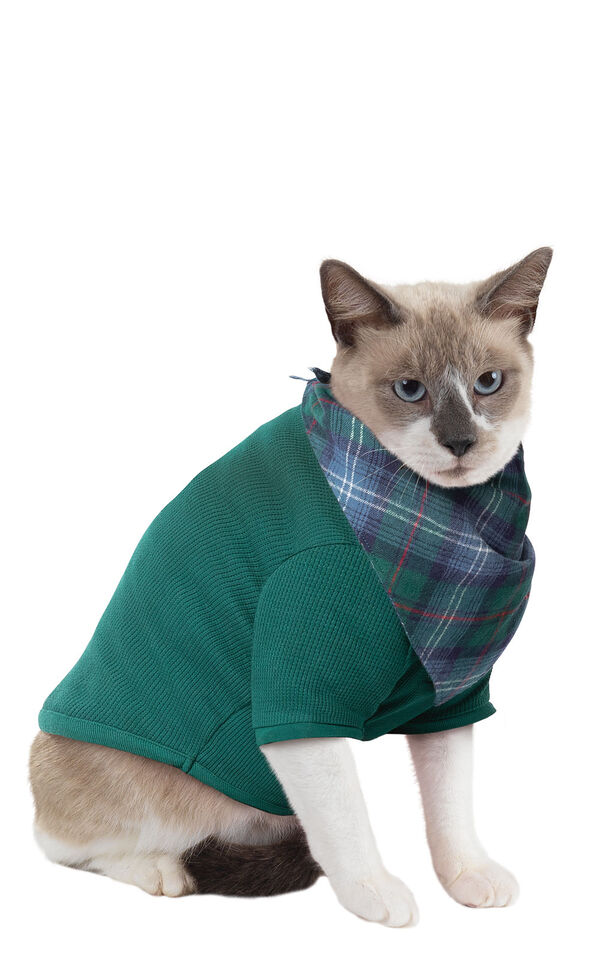 Model wearing Green Thermal PJ for Cats image number 0