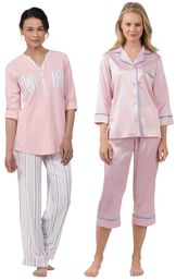 Models wearing Soft Stripe Henley Pajamas and Dreamy Satin Capri Pajamas. image number 0