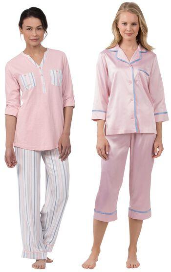 Soft Stripe Henley PJs & Dreamy Satin Capri PJs