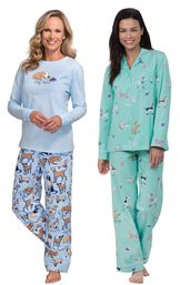 Models wearing Dog Tired Jersey-Top Flannel Pajamas and Doggy Dreams Boyfriend Pajamas. image number 0