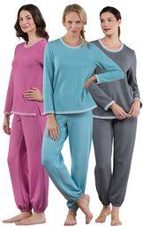 Models wearing World's Softest Jogger Pajamas - Charcoal, World's Softest Jogger Pajamas - Teal and World's Softest Jogger Pajamas - Raspberry.