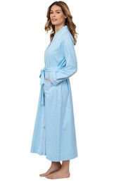 Model wearing Blue with White Polka Dot Wrap Robe for Women, facing to the side image number 2