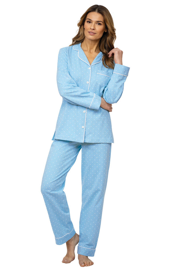 Model wearing Blue Pin Dot Button-Front PJ for Women image number 0
