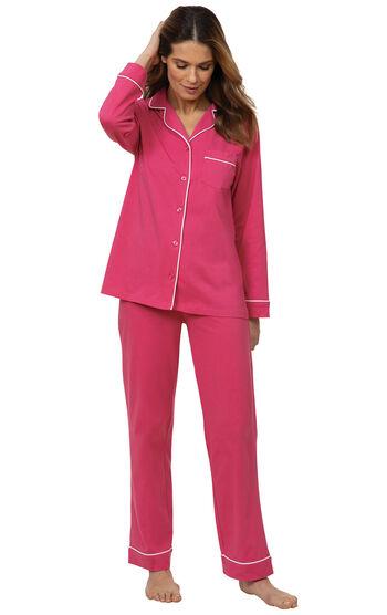 Solid Jersey Boyfriend Pajamas - Bold Pink