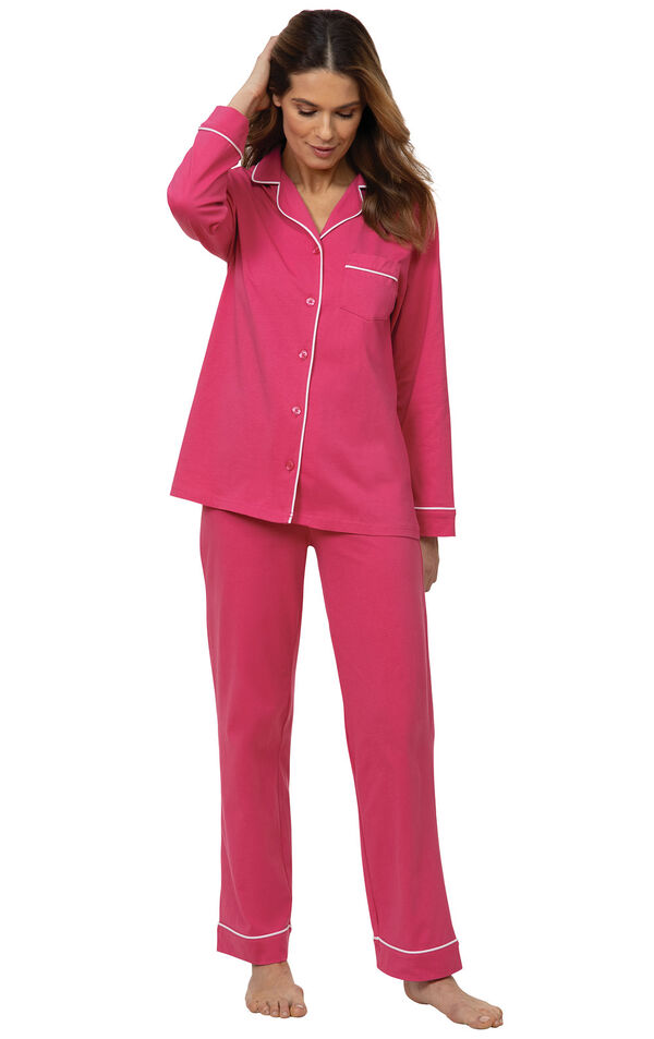 Model wearing solid jersey boyfriend pajamas in bold pink image number 0