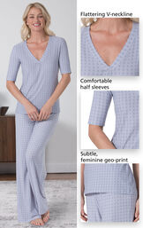 Close-Ups of Nudies PJs features which include a flattering V-neckline, comfortable half sleeves and a subtle, feminine geo print. image number 3