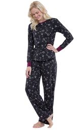 Model wearing Love and Wine Print PJ -Women image number 0