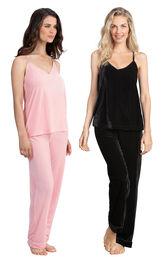 Models wearing Velour Cami Pajamas - Pink and Velour Cami Pajamas - Black.