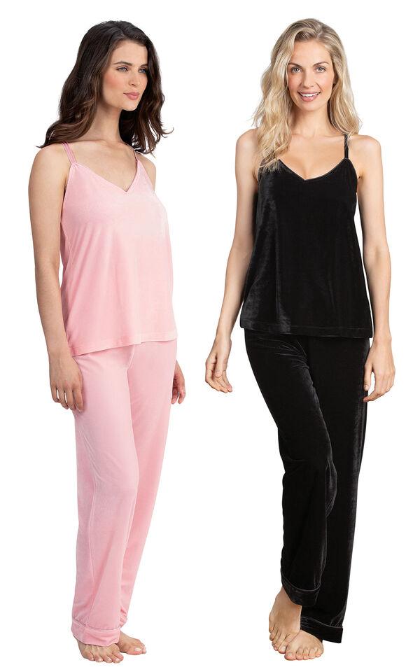 Models wearing Velour Cami Pajamas - Pink and Velour Cami Pajamas - Black. image number 0