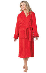 Model wearing Red Cable Embossed Fleece Wrap Robe for Women image number 0