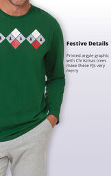 Printed argyle graphic with Christmas Trees make these PJs very merry image number 3