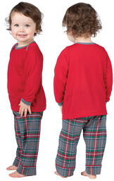 Model wearing Gray Plaid PJ for Infants, facing away from the camera and then facing to the side image number 1