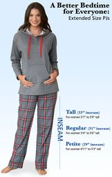 """A Better Bedtime for Everyone: Extended Size PJs. Tall: 33"""" inseam, for women 5'7 to 5'9 tall. Regular: 31"""" inseam, for women 5'4 to 5'6 tall. Petite: 29"""" inseam, for women 4'11 to 5'3 tall. image number 4"""