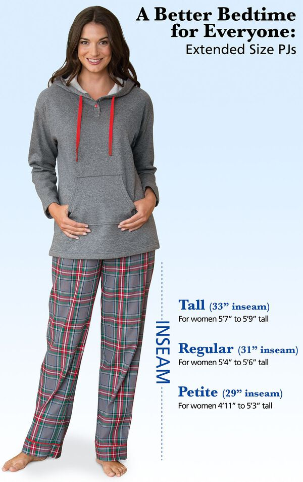 "A Better Bedtime for Everyone: Extended Size PJs. Tall: 33"" inseam, for women 5'7 to 5'9 tall. Regular: 31"" inseam, for women 5'4 to 5'6 tall. Petite: 29"" inseam, for women 4'11 to 5'3 tall. image number 4"