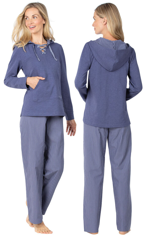 Model wearing Blue Stripe Margaritaville Lace-up Hoodie PJ for Women, facing away from the camera and then to the side image number 1