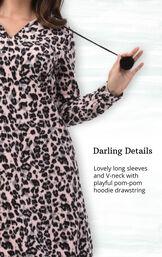 Pink Black Leopard Print Sleepshirt - Hood for Women image number 3