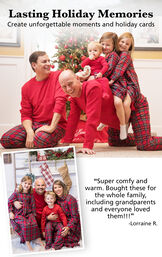 """Family Photos of Stewart Plaid Matching Family Pajamas. Customer Quote: """"Super comfy and warm. Bought these for the whole family, including grandparents and everyone loved them!"""" - Lorraine R. image number 3"""