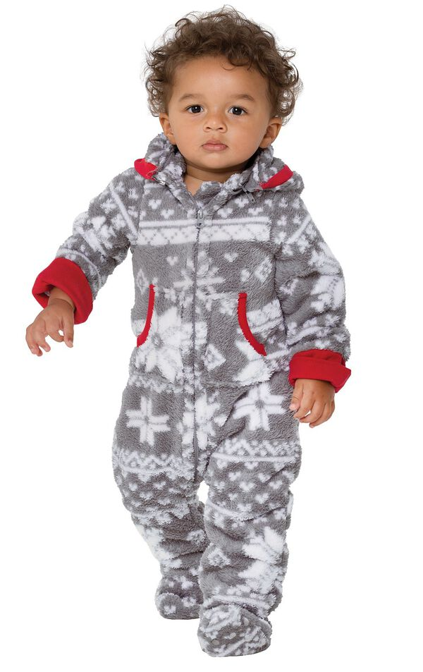 Model wearing Hoodie-Footie - Gray Fair Isle Fleece for Infants image number 0