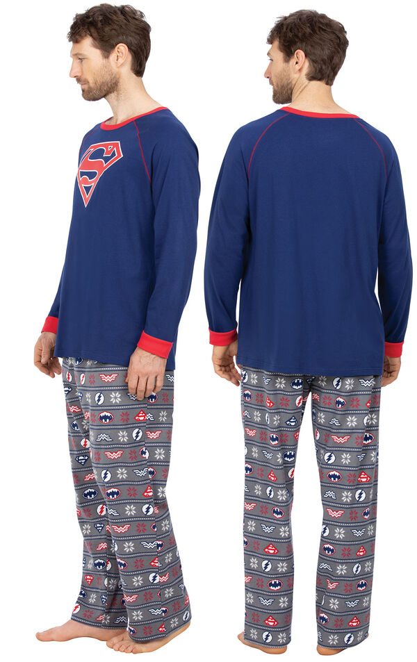 Model wearing Red and Blue Justice League PJ for Men, facing away from the camera and then to the side image number 1