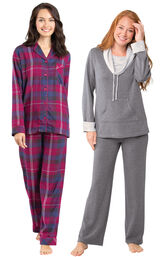 Models wearing World's Softest Flannel Boyfriend Pajamas - Black Cherry Plaid and World's Softest Pajamas - Charcoal.
