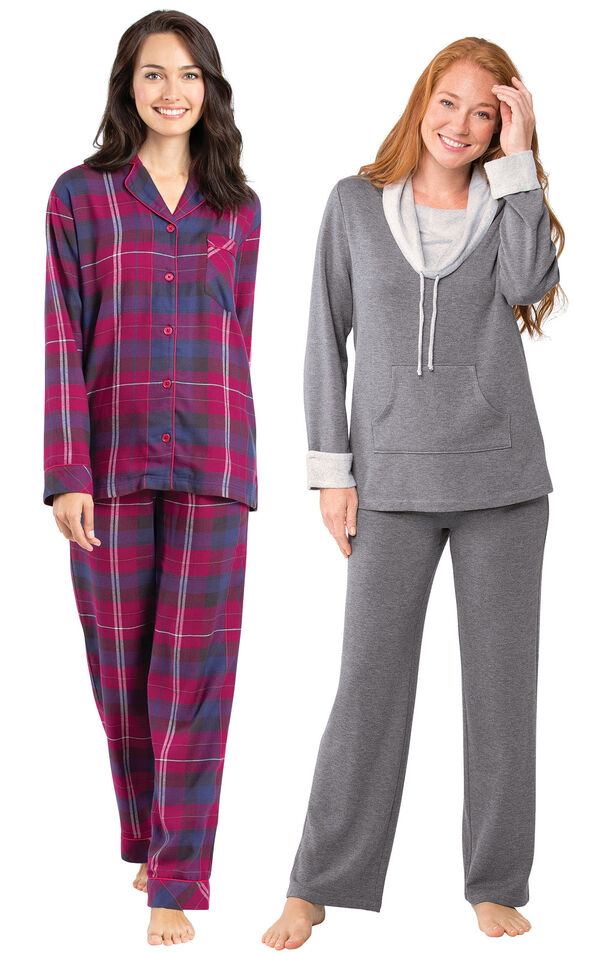 Models wearing World's Softest Flannel Boyfriend Pajamas - Black Cherry Plaid and World's Softest Pajamas - Charcoal. image number 0