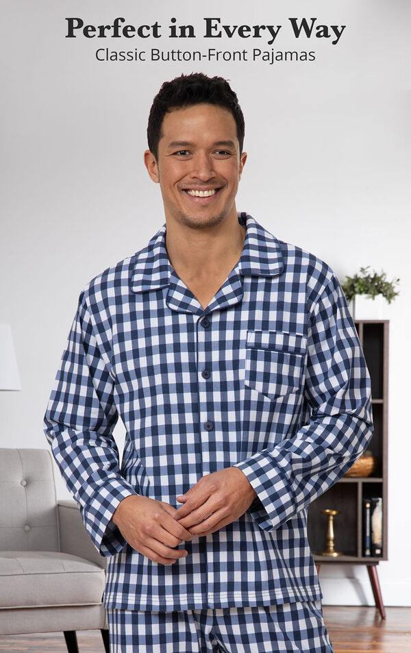 Model wearing Blue Gingham Button-Front PJ for Men with the following copy: Perfect in Every Way image number 2